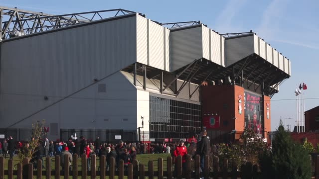 Long shot of fans in fornt of Anfield Stadium Liverpool v Swansea on February 17 2013 in Liverpool England