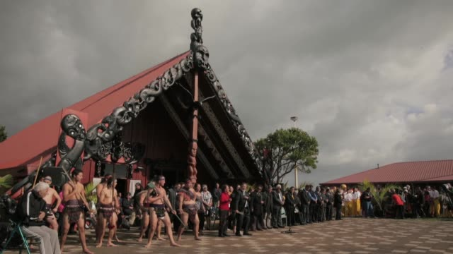 Long shot of Maori warriors and government officials performing traditional dance New Zealand Taniwha and Dragon Festival on April 27 2013 in...