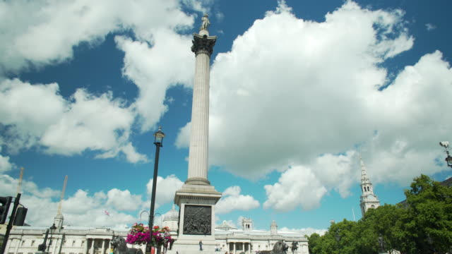 Long shot of Nelson's Column and Trafalgar Square.
