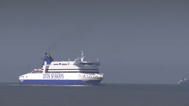 long shot of passenger ferries travelling across the english channel. - ferry stock videos & royalty-free footage