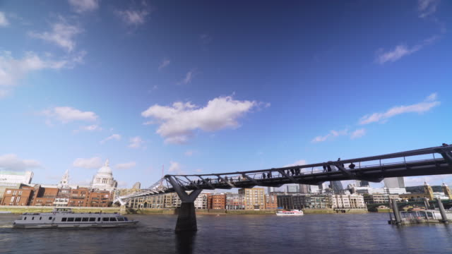 Long shot of people crossing London's River Thames via the Millennium Bridge.