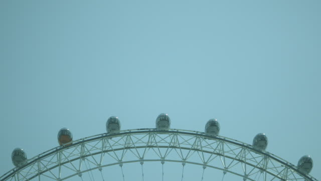 Long shot of people riding in the pods of the London Eye.