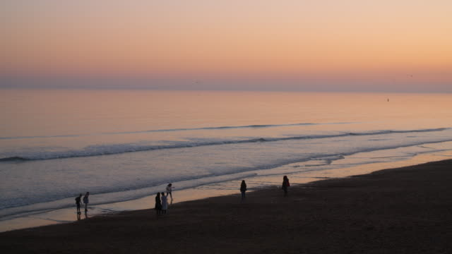 long shot of people standing on the shoreline of brighton beach at dusk. - 数人点の映像素材/bロール