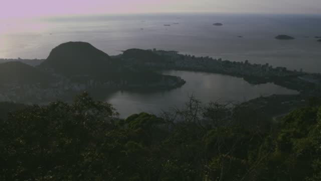 Long shot of Rodrigo de Freitas Lagoon and Ipanema
