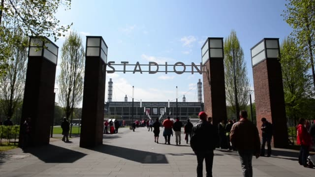 Long shot of stadium gate 1 FC Koeln v TSV 1860 Muenchen 2 Bundesliga Editorial Video Footage at RheinEnergieStadion on April 28 2013 in Cologne...