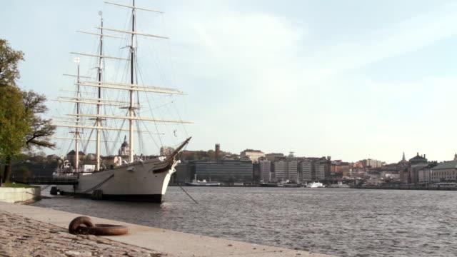 Long shot of the af Chapman moored on Skeppsholmen, Stockholm.