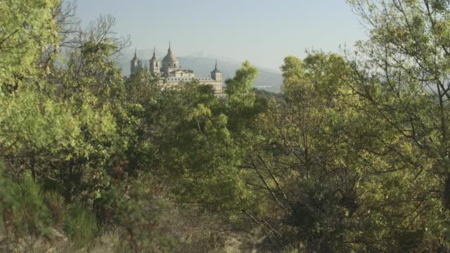 Long shot of the El Escorial palace at San Lorenzo de El Escorial, Spain.