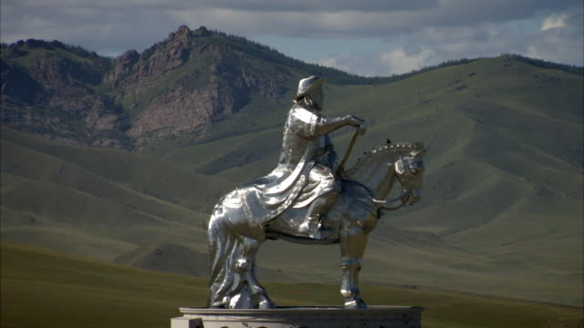 Long shot of the spectacular Genghis Khan Equestrian Statue in Mongolia.