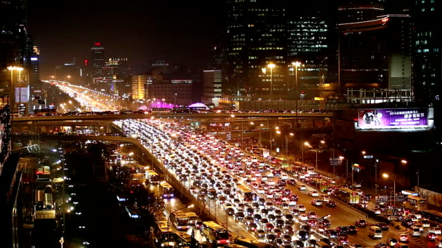 HA long shot of Traffic of Beijing Central Business District.