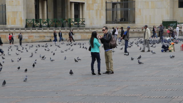 vidéos et rushes de long shot on eye level of the plaza de bol��var showing the street life on the plaza, people standing in front of the palacio de justicia, a young... - var