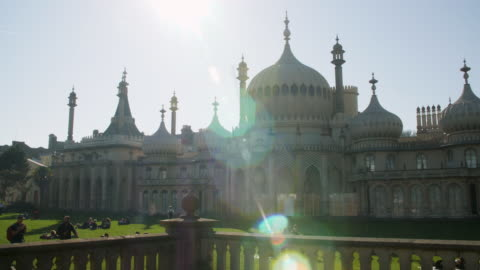 long shot on the exterior of brighton's royal pavilion. - architectural dome stock videos & royalty-free footage