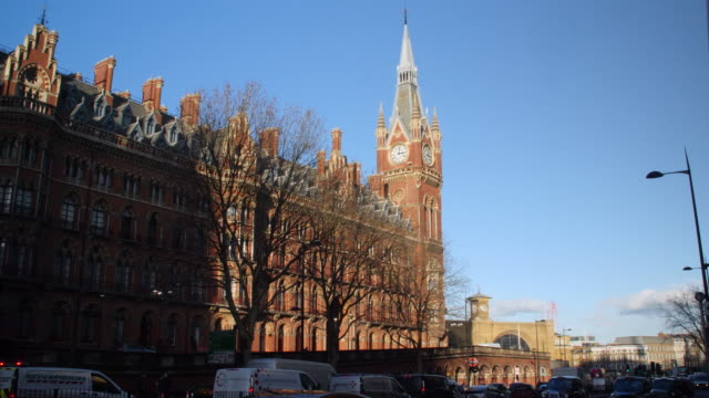 Long shot on the exterior of the majestic St Pancras Hotel on London's Euston Road.