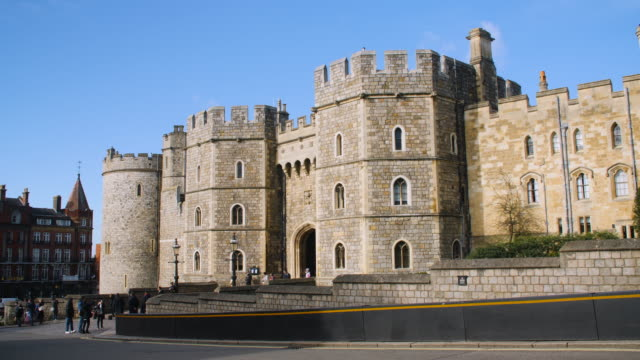 Long shot on the exterior of Windsor Castle.