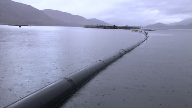 long shot pan-left pan-right - a pipeline stretches across a harbor in scotland. / scotland - pipeline stock videos & royalty-free footage