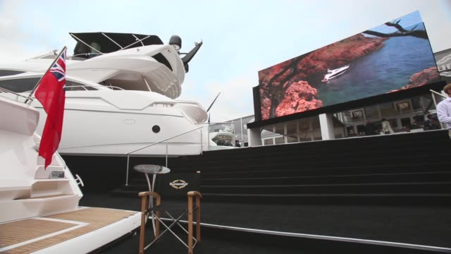 long shot people look at the various types of boats for sale on the opening day of the annual psp southampton boat show on september 13 2013 in... - world water day stock videos and b-roll footage