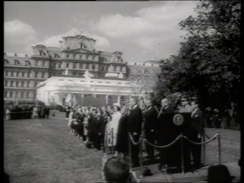 b/w long shot presidential reception line with lbj and indira gandhi / 1960's / sound - indira gandhi stock videos & royalty-free footage