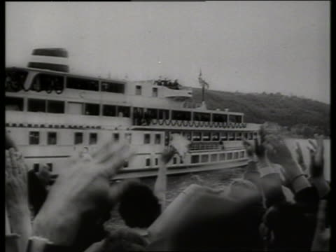 b/w long shot riverboat on rhine river in germany / 1960's / sound - paddle boat stock videos & royalty-free footage