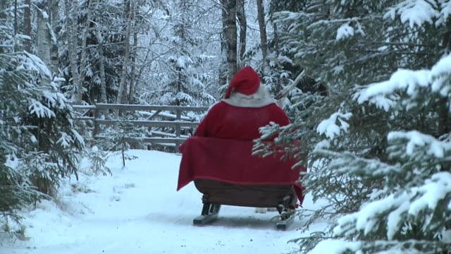 long shot. santa claus in his land of rovaniemi riding his sledge. shot on november 2010 . - エルフ点の映像素材/bロール