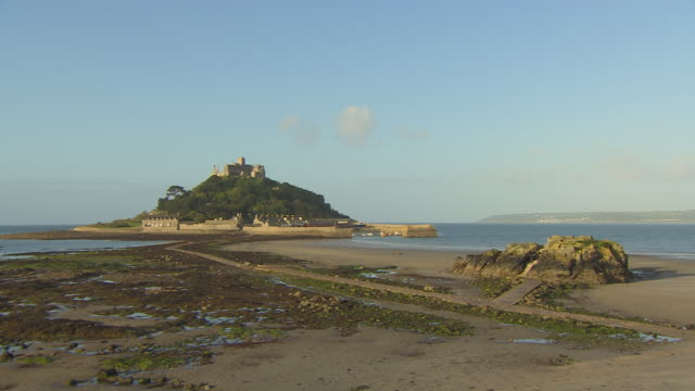 Long shot sequence of St Michael's Mount, Cornwall.