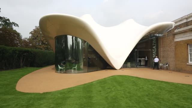 long shot, serpentine sackler gallery exterior. members of the public admire the redeveloped serpentine sackler gallery in hyde park on september 25,... - jeremy paxman stock videos & royalty-free footage