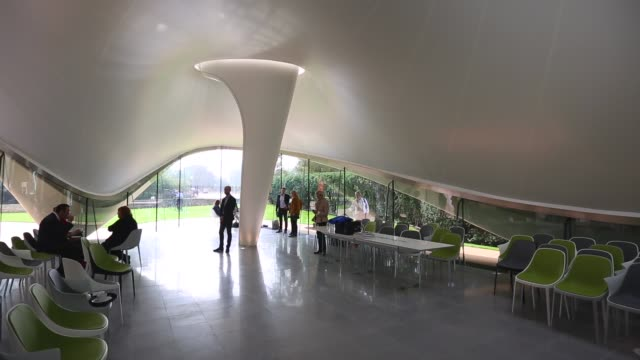 long shot, serpentine sackler gallery interior. members of the public admire the redeveloped serpentine sackler gallery in hyde park on september 25,... - jeremy paxman stock videos & royalty-free footage