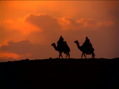long shot SILHOUETTE two Bedouin men riding camels on desert hilltop at sunset/rise / Giza, Egypt