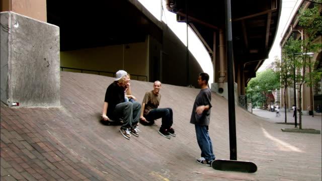 Long shot skateboarders laughing and talking on ramp at Brooklyn Banks / man skating up ramp / New York City