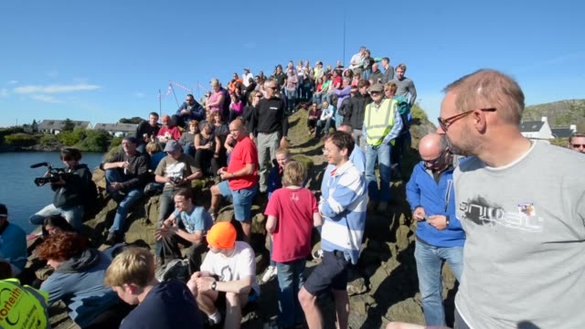 Long Shot spectators watching the competition Competitors compete in the World Stone Skimming Championships held on Easdale Island on September 29...