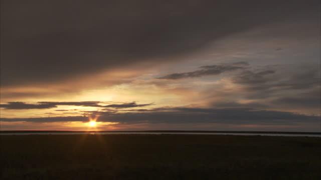 """vídeos de stock e filmes b-roll de """"long shot static-dark clouds race across a rosy sky. / wrangell, st. elias national park, alaska, usa"""" - planície"""