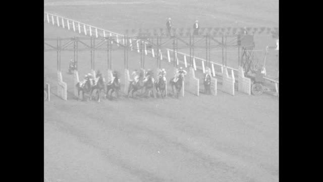 Long shot tilt down horse team pulls starting gate onto racetrack / MS spectators in covered stands / LS race starts / MS spectators seated and...