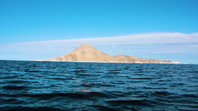 long shot, tracking shot, of the island pan de azucar, handheld, from a boat approaching the island - atacama region stock videos & royalty-free footage