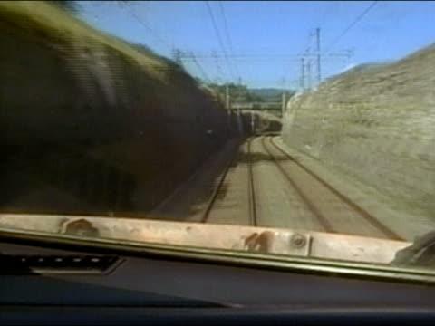 1994 long shot train point of view TGV speeding along the rails / France / AUDIO