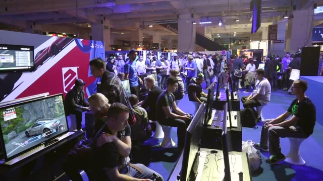 long shot, video game enthusiasts play the latest release games at the eurogamer expo at earls court exhibition centre on september 26, 2103 in... - earls court stock videos & royalty-free footage