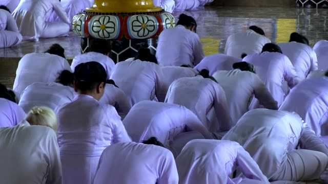 long shot worshippers of cao dai religion attending a mass shot on january 2016 no - theology stock videos and b-roll footage