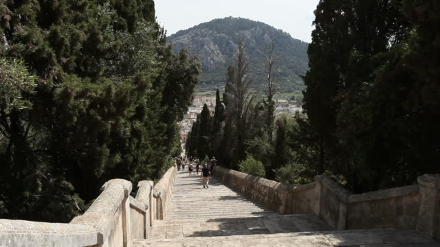 long stairway in pollenca, mallorca - majorca stock videos & royalty-free footage