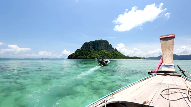 Long tail Boat riding at Andaman sea Krabi Phuket Thailand