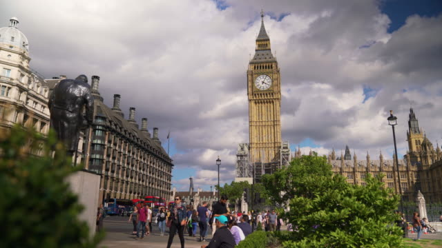Long tracking shot of Big Ben from Parliament Square.