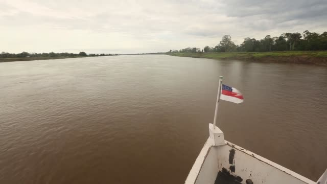 vídeos y material grabado en eventos de stock de long tracking shot the amazon river and rainforest view from the front of a riverboat a transport riverboat travels in the brazilian amazon from... - amazonas state brazil