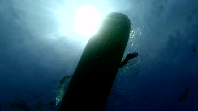 longboard silhouette underwater - pagaiare video stock e b–roll