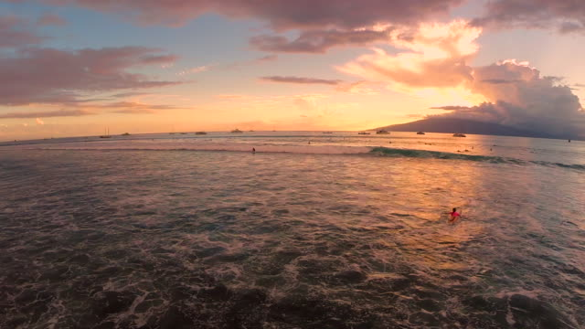 longboard surfers catch casual waves at sunset in maui, hi - back lit stock videos & royalty-free footage