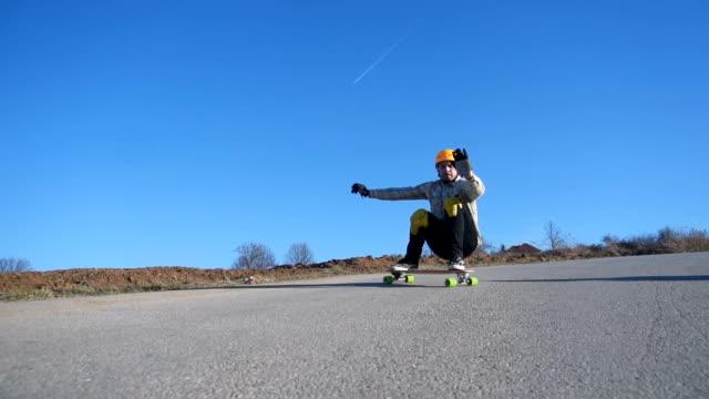 Longboarder Sliding Slow Motion
