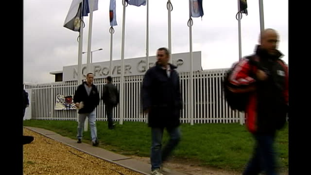 workers leaving mg rover car plant aston closed gates of former hp sauce production factory birmingham jaguar landrover factory entrance - longbridge stock videos & royalty-free footage