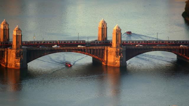 vídeos y material grabado en eventos de stock de t/l ha ms longfellow bridge, boston, massachusetts, usa - río charles