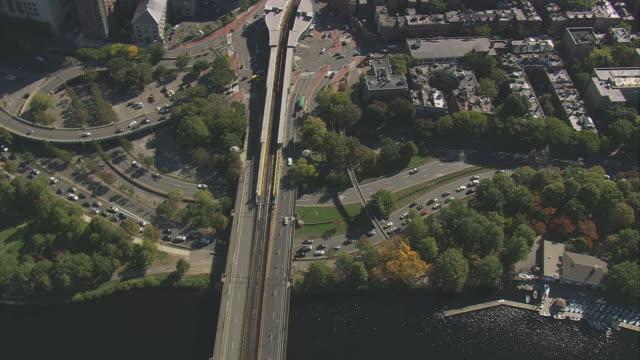 AERIAL Longfellow Bridge over Charles River / Boston, Massachusetts, United States