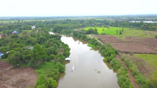 longtail boat in river, aerial view over river and tree in countryside - longtail boat stock videos & royalty-free footage