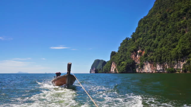 longtail boat summer holiday excursion thailand - longtail boat stock videos & royalty-free footage