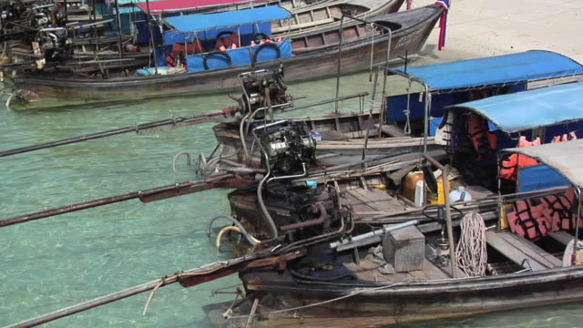 MS Longtail Boats on Ao Loh Lam Beach, Phi Phi Island, Thailand