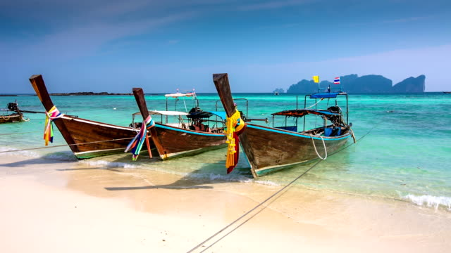 stockvideo's en b-roll-footage met longtails on a thai beach - thailand - thailand