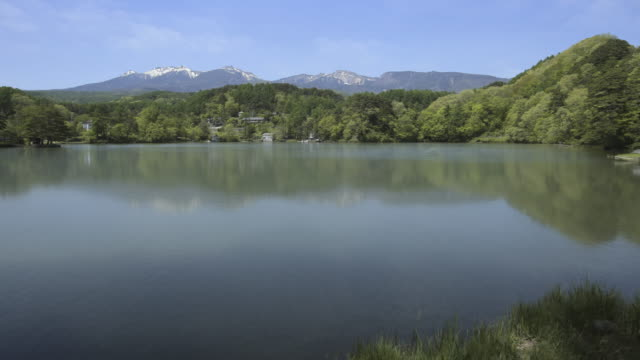 """longterm time lapse of """"a lake with mountains in background"""" from winter to spring - 季節点の映像素材/bロール"""