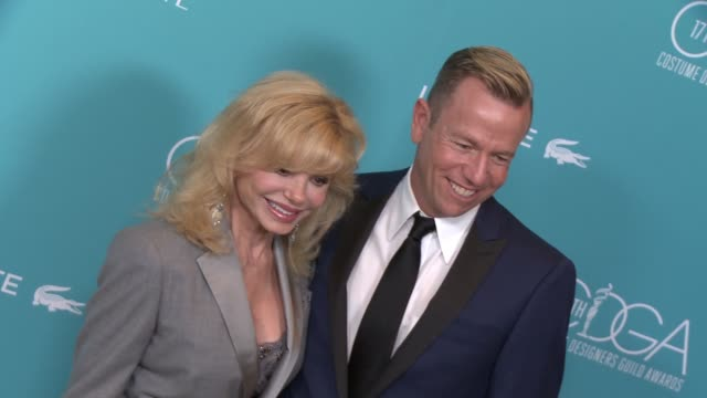loni anderson christopher lawrence at the 17th costume designers guild awards in los angeles ca - loni anderson stock videos & royalty-free footage
